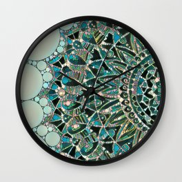 Bloom Mandala in Ocean Wall Clock