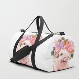 Lovely Baby Pig with Flowers Crown Duffle Bag