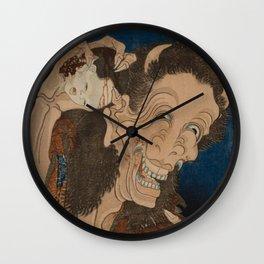 Creepy Japanese Ghost Horror Woodblock The Laughing Demon Wall Clock