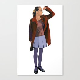 A woman with a red coat Canvas Print