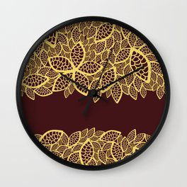 Oriental Persian Paisley, Leaves - Red Yellow Wall Clock