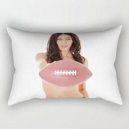 Beautiful brunette topless women holding football Rectangular Pillow