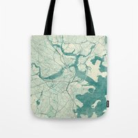 vintage map Tote Bags featuring Boston Map Blue Vintage by City Art Posters