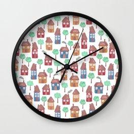 Happy Homes Pattern Wall Clock
