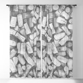 Something Nostalgic II Twist-off Wine Corks in Black And White #decor #society6 #buyart Sheer Curtain