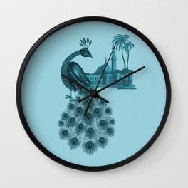Blue peacock oriental dream Wall Clock