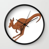 kangaroo Wall Clocks featuring Kangaroo by Imaginative Ink