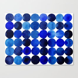 Blue Circles in Watercolor Canvas Print