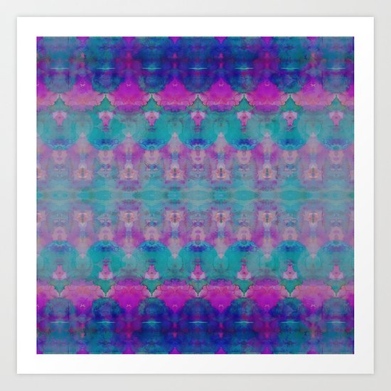Watercolour Tribal Pink Art Print