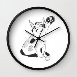 Strange Cat With Third Eye Design Wall Clock