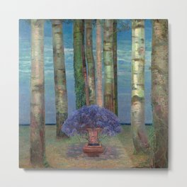 Wysteria Fountain And Poplar Trees by Emilie Mediz-Pelikan Metal Print