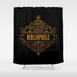 Gold Bibliophile on Black Shower Curtain