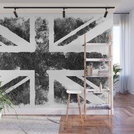 Black UK flag Wall Mural