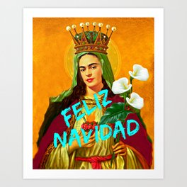 Feliz Navidad Mary Frida Christmas Art Print