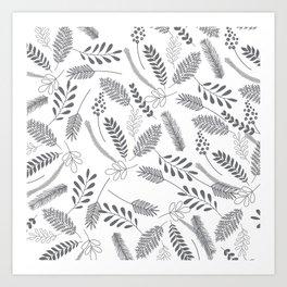 Modern gray hand painted leaves berries pattern Art Print