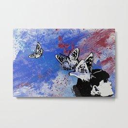 Long Gone Whisper III: Blue (butterfly girl spray paint graffiti painting) Metal Print