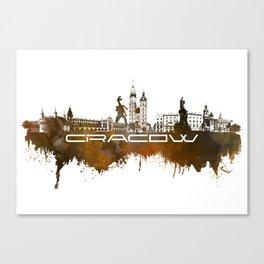 Cracow skyline city brown Canvas Print
