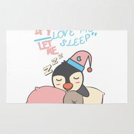 If you love me let me sleep cute sleeping Penguine Present Gift Rug