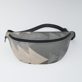 Geometric triangles abstract pattern - Gray tones & Beige Fanny Pack