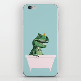 Playful T-Rex in Bathtub in Green iPhone Skin