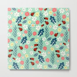 Spring meadow in bloom with ladybirds on green background Metal Print