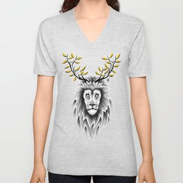 Deer Lion Unisex V-Neck