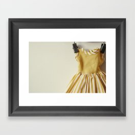 Doll Closet Series - Mustard Stripe Dress Framed Art Print
