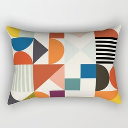 mid century retro shapes geometric Rectangular Pillow