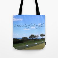 golf Tote Bags featuring Golf by Rebecca Bear