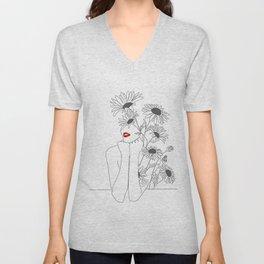 Minimal Line Art Girl with Sunflowers Unisex V-Neck