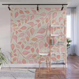 Coral Pink Leaves On Gold Wall Mural