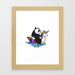 Panda Bear Riding Unicorn Float Pool Party Framed Art Print