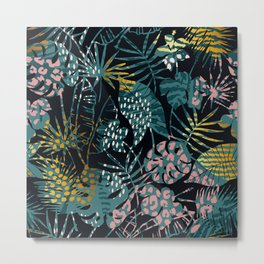 Jungle Leaf Gilded Abstract Pattern In Pinks & Teals Metal Print