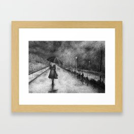 Woman in Rain Framed Art Print