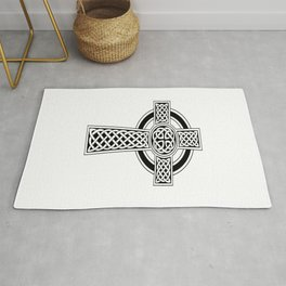 St Patrick's Day Celtic Cross Black and White Rug