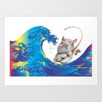 hokusai Art Prints featuring Hokusai Rainbow & Hippopotamus Fishing  by FACTORIE