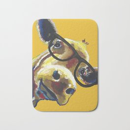 Yellow Glasses Cow, Cow up close glasses Bath Mat