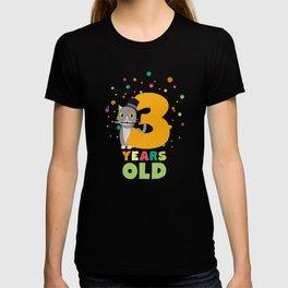 Three Years third Birthday Party Cat Ddd8s T-shirt