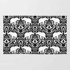 Elephant Damask Black and White Rug