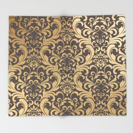 Gold swirls damask #1 Throw Blanket
