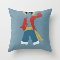 luffy Throw Pillows featuring Monkey D Luffy by JHTY