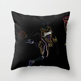 Neon Los Angles Basketball Legend Throw Pillow
