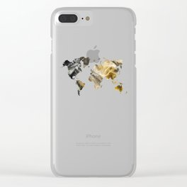 Sandy world map Clear iPhone Case