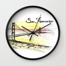 San Francisco. Watercolor and ink. Wall Clock