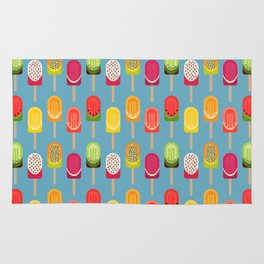 Fruit popsicles - blue version Rug