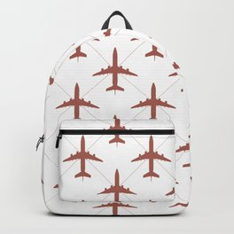 Coral Pink Airplanes Flying Pattern Backpack