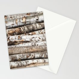 striped birch trunks Stationery Cards