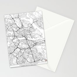 Stockholm Map White Stationery Cards