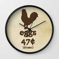 eggs Wall Clocks featuring Eggs by Statement