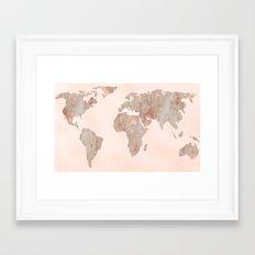 Rosegold Marble Map of the World Framed Art Print